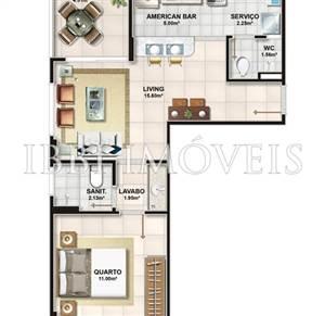 Apartamentos de 1 quarto no Jardim Armação